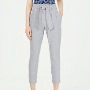 Calvin Klein women 14 printed tie-waist pants grid pattern blue/white cropped